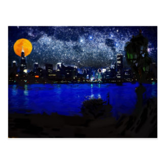 chicago at full moon 2 pastel post card
