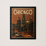 """Chicago At Night Jigsaw Puzzle<br><div class=""""desc"""">This dramatic skyline of Chicago at night is just the thing for vintage lovers with a love for cities.  Chicago,  Illinois vintage travel design.</div>"""