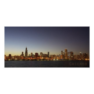 Chicago at Night Poster
