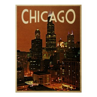 Chicago At Night Print
