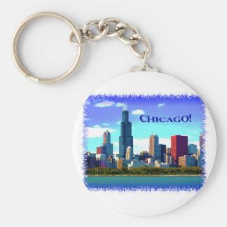 Chicago Basic Round Button Keychain