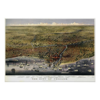 Chicago birdseye map  - 1874 (Parsons & Atwater) B Print
