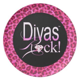 "CHICAGO BLING - Leopard ""Divas Rock!"" Plate"