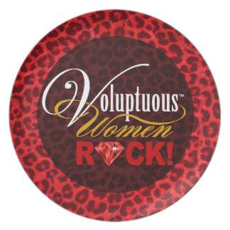 "CHICAGO BLING - Leopard ""Voluptuous Women Rock!"" Melamine Plate"