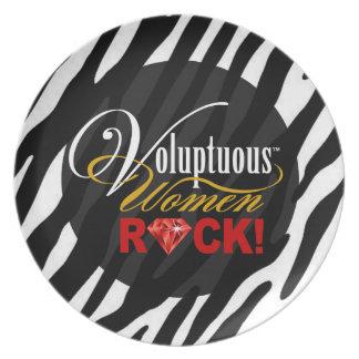 """CHICAGO BLING - Zebra """"Voluptuous Women Rock!"""" Dinner Plate"""