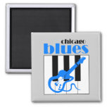 Chicago blues 2 inch square magnet