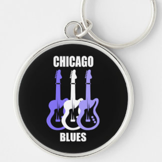 Chicago Blues Silver-Colored Round Keychain