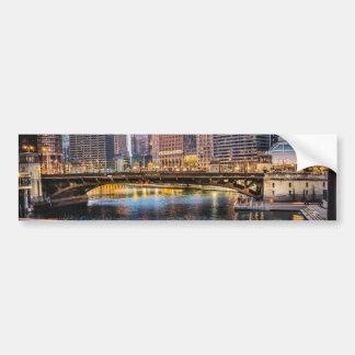 Chicago Bridges & Lights Bumper Sticker