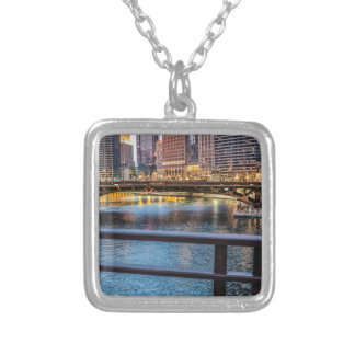 Chicago Bridges & Lights Silver Plated Necklace