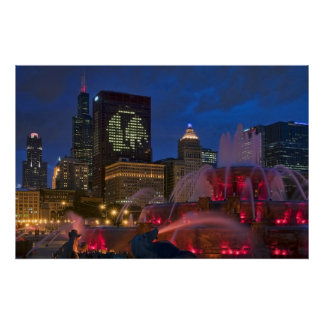 Chicago Buckingham Fountain on Canvas Poster