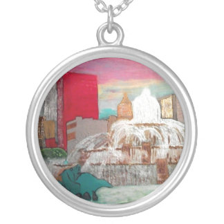 Chicago Buckingham Fountain Round Pendant Necklace