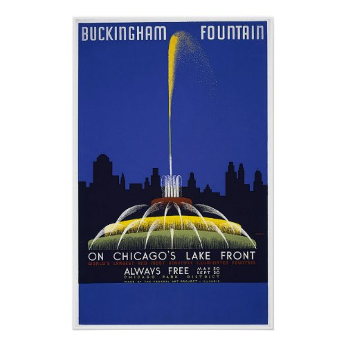 Chicago Buckingham Fountain Vintage WPA Poster