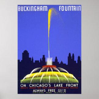 Chicago Buckingham Fountain WPA Poster