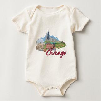 Chicago Cartoon Skyline Baby Bodysuit