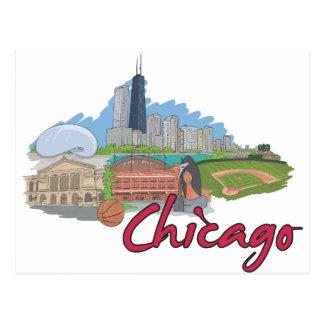 Chicago Cartoon Skyline Postcards