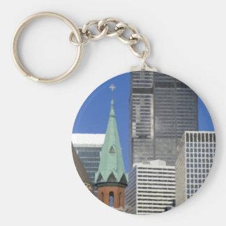 Chicago Cathedral Skyline Basic Round Button Keychain