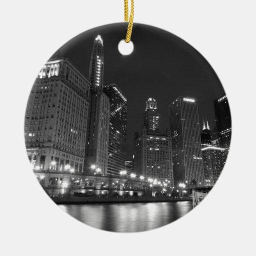 Chicago céntrica blanco y negro adorno redondo de cerámica