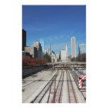 Chicago céntrica con las pistas del tren  papeleria de diseño