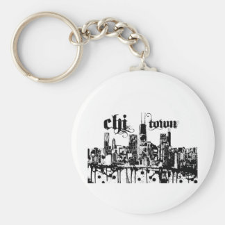 "Chicago ""chi-town"" put on for your city keychain"