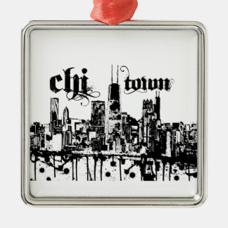 """Chicago """"chi-town"""" put on for your city metal ornament"""