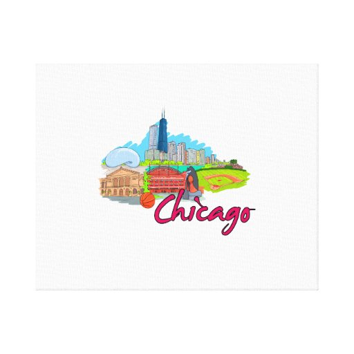 chicago city  2 travel graphic.png stretched canvas print