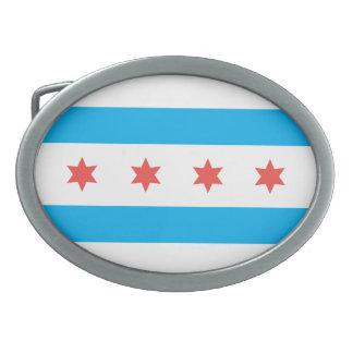 Chicago city flag belt buckle