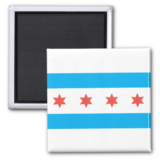 Chicago city flag fridge magnet