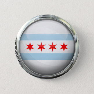Chicago City Flag Glass Ball Button