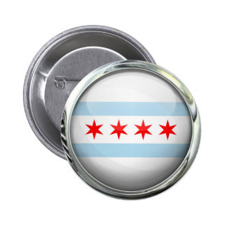 Chicago City Flag Glass Ball Button
