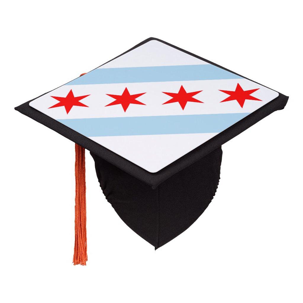 Chicago city flag graduation cap topper