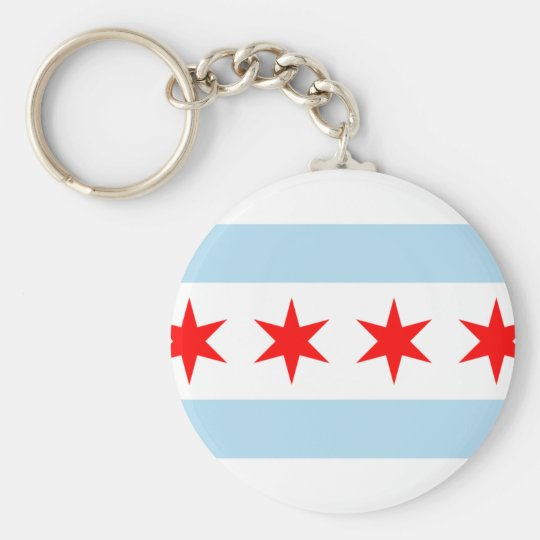 Chicago city flag keychain