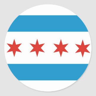 chicago city flag usa america classic round sticker