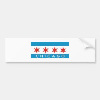 chicago city flag usa text name america bumper sticker