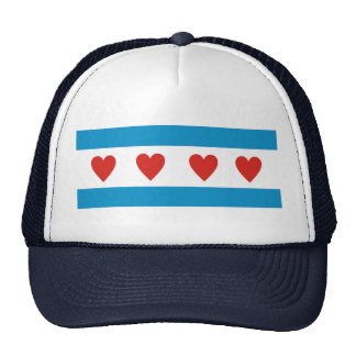 chicago city love flag hearts usa united states am trucker hat