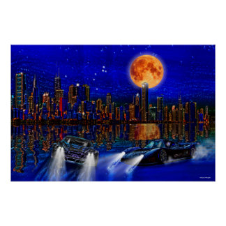 Chicago City Skyline and Street-Racing Cars Poster