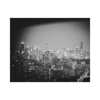 Chicago city skyline from Waveland Ave. Canvas Print