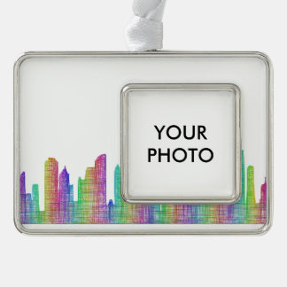 Chicago city skyline silver plated framed ornament