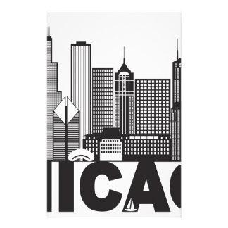 Chicago City Skyline Text Black and White Stationery