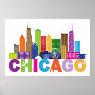 Chicago City Skyline Typography Poster