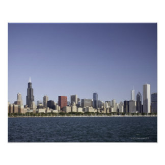 Chicago city skyline with Lake Michigan 2 Poster