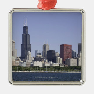 Chicago city skyline with Lake Michigan Metal Ornament