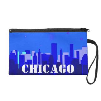 Chicago Cityscape Bagettes Bag Wristlet Purse