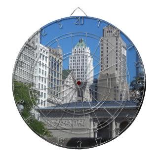 Chicago cityscape dartboard with darts