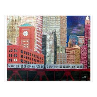 Chicago Cityscape with El Train Postcard