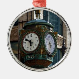 Chicago Clock Metal Ornament