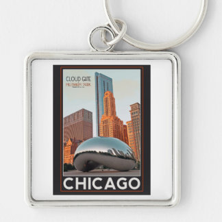 Chicago - Cloud Gate at Millenium Park Silver-Colored Square Keychain