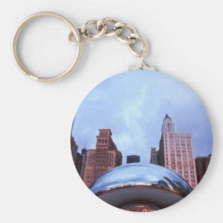 Chicago Cloud Gate Basic Round Button Keychain