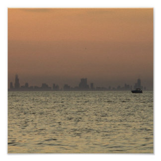 Chicago Coast Line At Sunset Poster