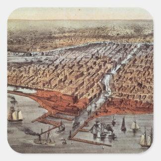 Chicago como era, c.1880 pegatina cuadrada