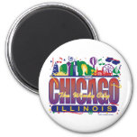 Chicago-Confetti 2 Inch Round Magnet